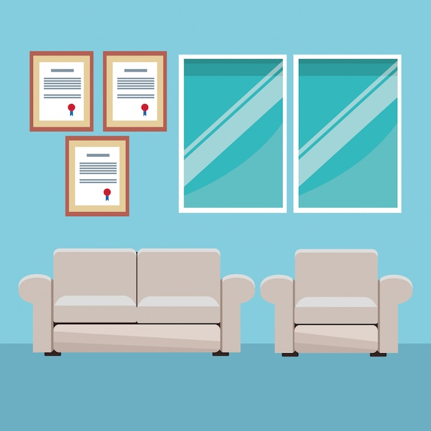 Modern furniture room cartoon Premium Vector