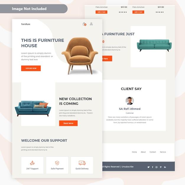 モダンな家具販売メールテンプレートデザイン Premiumベクター