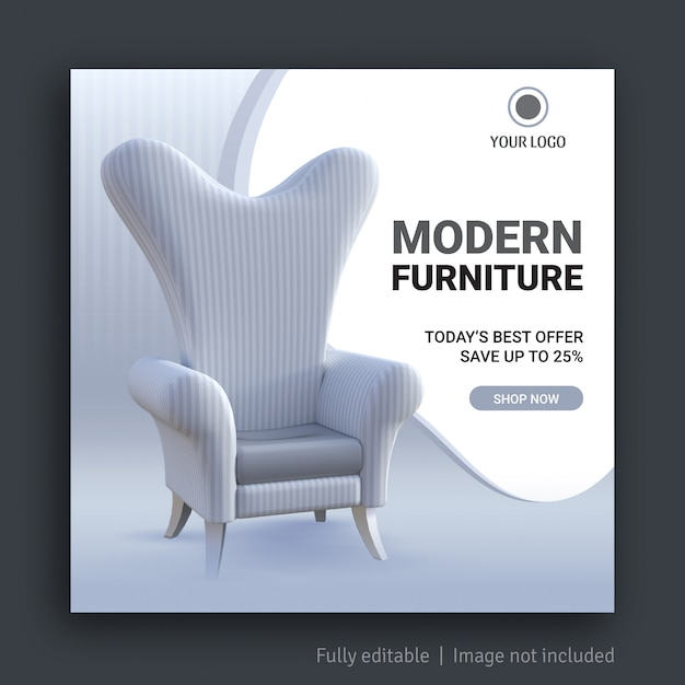 モダンな家具ソーシャルメディア投稿バナーテンプレート Premiumベクター