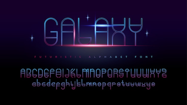 Modern futuristic galaxy alphabet fonts with text effect Free Vector