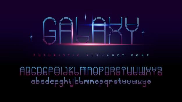 テキスト効果を持つ現代の未来的なギャラクシーアルファベットフォント 無料ベクター
