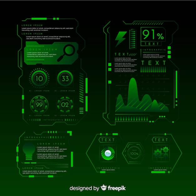 Modern futuristic infographic element collection Free Vector
