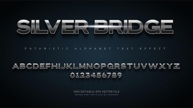 テキスト効果を持つ現代の未来的なシルバーブリッジアルファベットフォント Premiumベクター