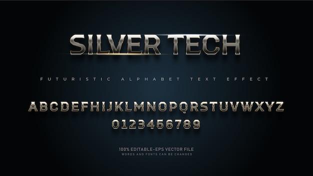 テキスト効果を持つ現代の未来的なシルバーテックアルファベットフォント Premiumベクター