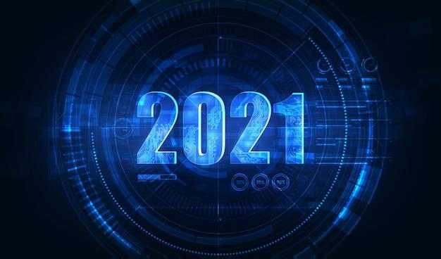 新年のための現代の未来技術 Premiumベクター