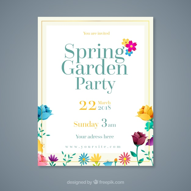 modern garden party invitation template vector free download