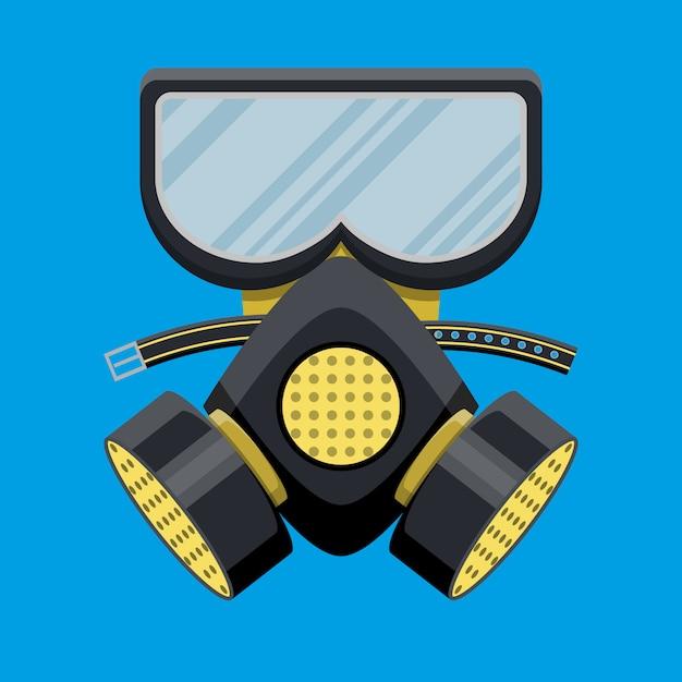 Modern gas mask respirator. fire equipment. Premium Vector