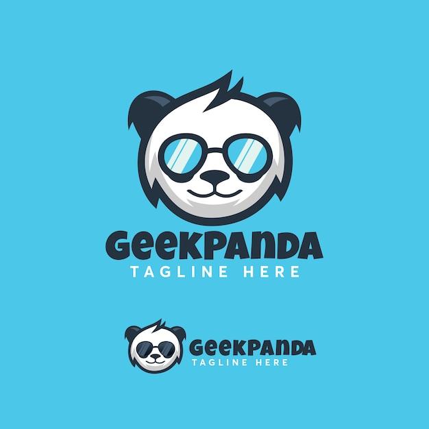 Modern geek pandaロゴデザインテンプレート Premiumベクター