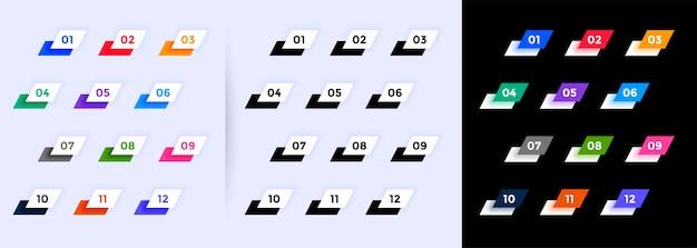 현대 기하학적 글 머리 기호는 1에서 12까지의 숫자 무료 벡터