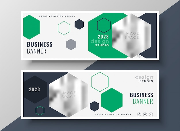 Modern geometric business banners set template design Free Vector