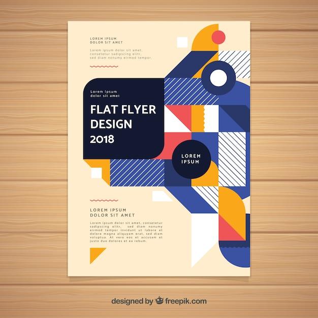 Modern geometric business brochure template Free Vector