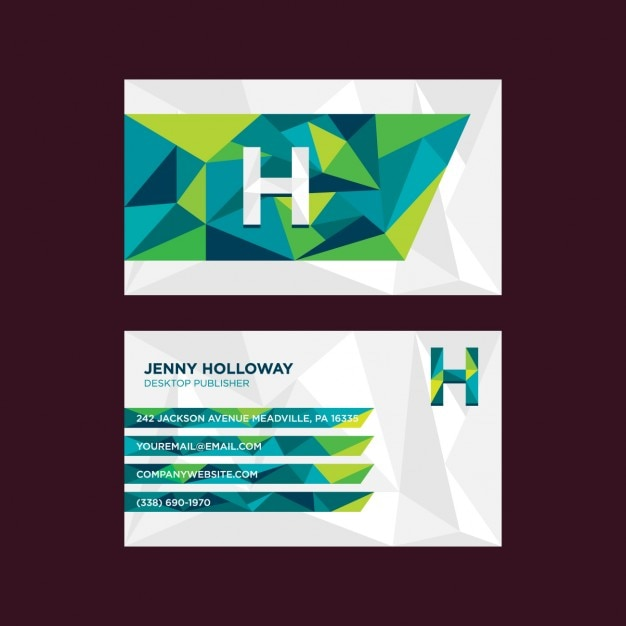 Modern geometric business card in green tones