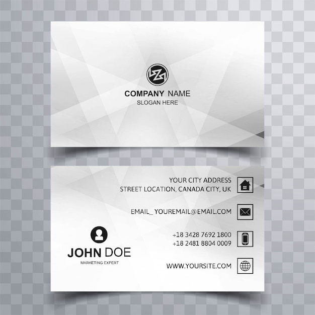 Modern geometric business card template design Free Vector