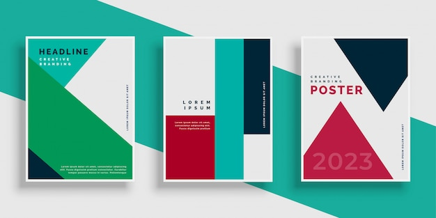 Modern geometric cover design template set Free Vector