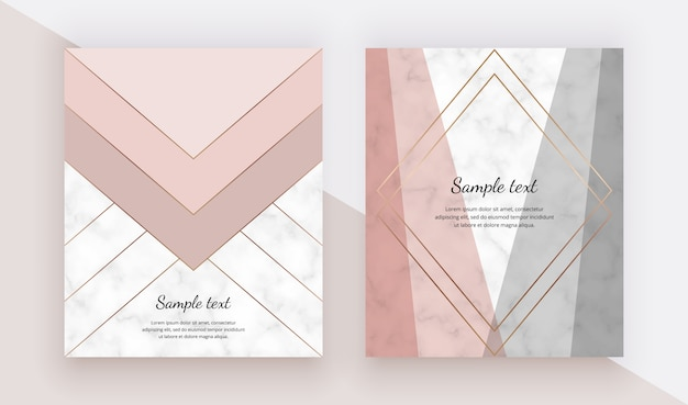 Modern geometric cover design with pink, grey triangles shapes and gold lines on the marble texture Premium Vector