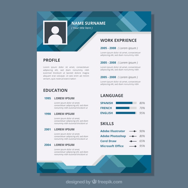 Modern Geometric Curriculum Vitae Vector Free Download