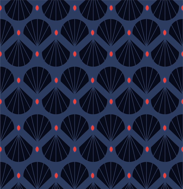 Modern  geometric decorative shell ,leaves seamless pattern.with red point retro style Premium Vecto