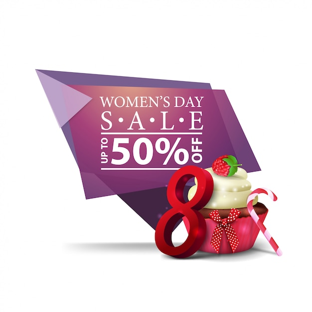 Modern geometric discount banner to the women's day Premium Vector
