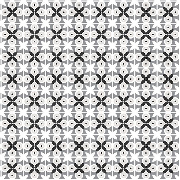 Modern geometric flowers pattern with. semicircles in retro flat Premium Vector