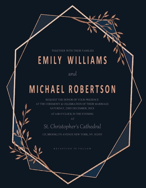 Modern geometric navy blue nature wedding invitation vector modern geometric navy blue nature wedding invitation premium vector stopboris Choice Image