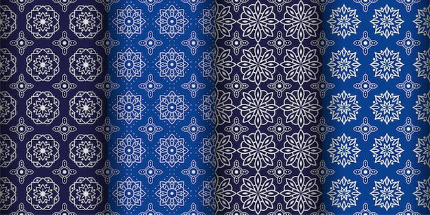 Modern geometric seamless pattern background. classic batik wallpaper. set Premium Vector