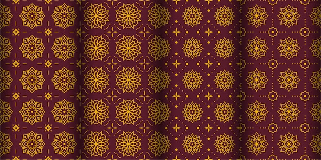Modern geometric seamless pattern background. classic batik wallpaper. set Premium Vector