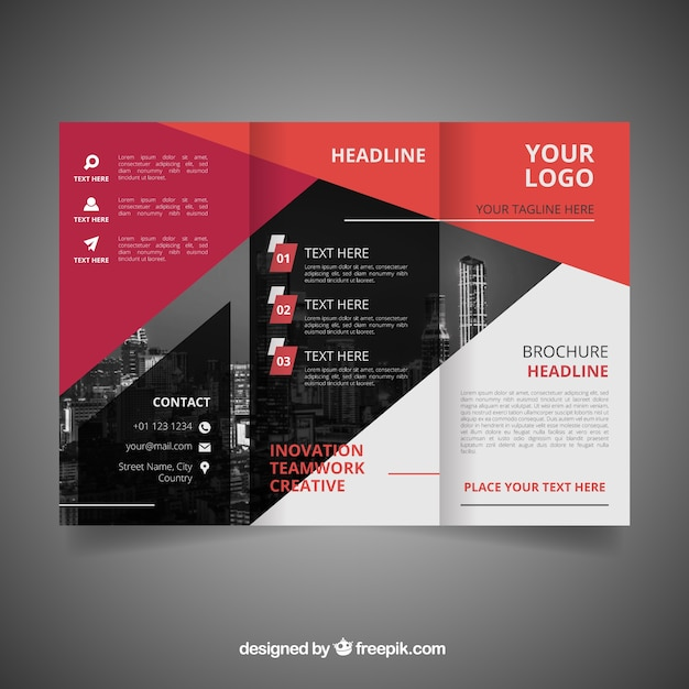 modern geometric trifold brochure template vector free download