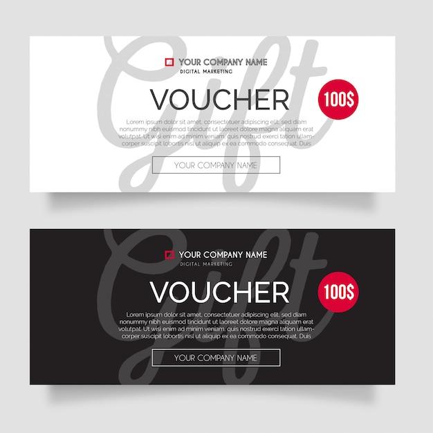 Modern gift voucher pack Free Vector
