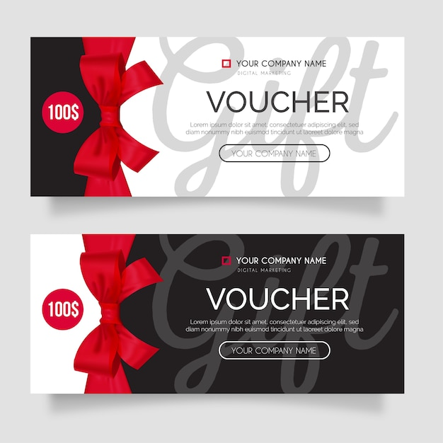 Modern gift voucher set with realistic red ribbon Free Vector