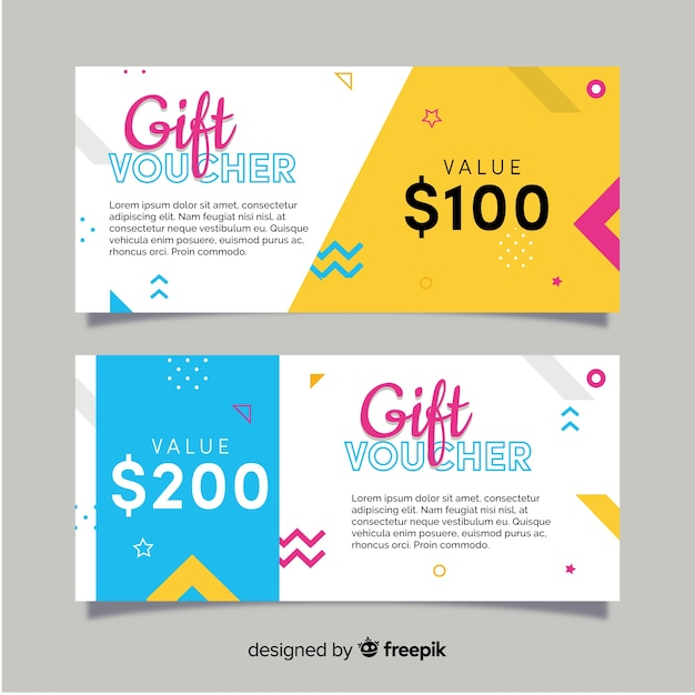 Modern gift voucher template with flat design Free Vector