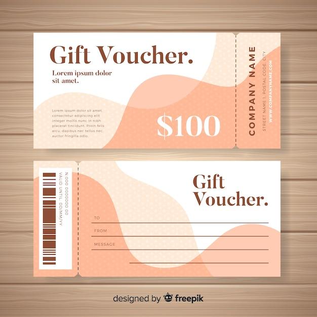 Modern gift voucher template with flat design Free Vector