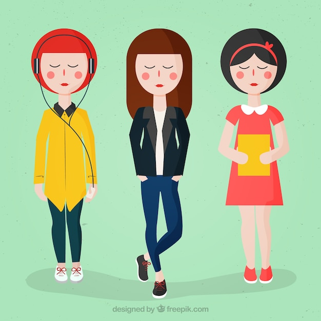 Modern girls with fashion clothes Free Vector