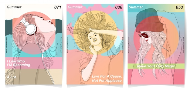 Modern girls with typography collection Premium Vector
