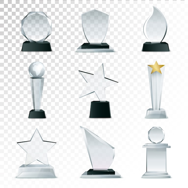 Modern glass cup trophies and challenge prizes side view realistic icons collection Free Vector