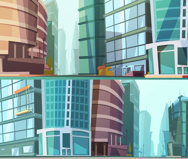 Modern glass walls buildings design street view close up 2 cartoon style background set abstract vector illustration Free Vector