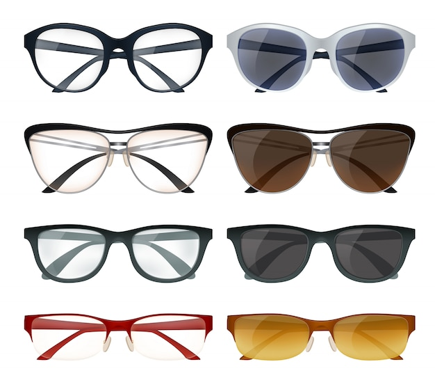 Modern glasses set Free Vector