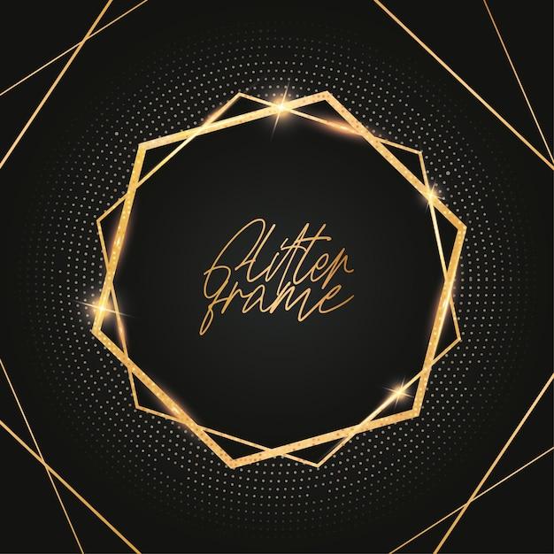 Modern glitter frame with golden shiny Free Vector