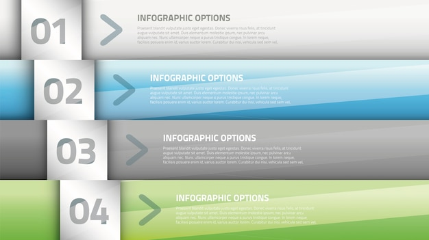 Modern glossy business infographic four options vector Premium Vector