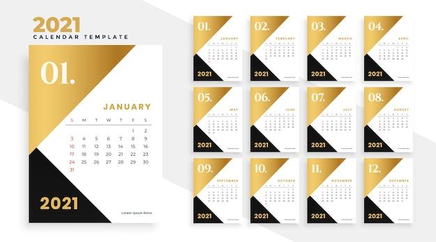 Современный золотой и черный дизайн новогоднего календаря на 2021 год Бесплатные векторы