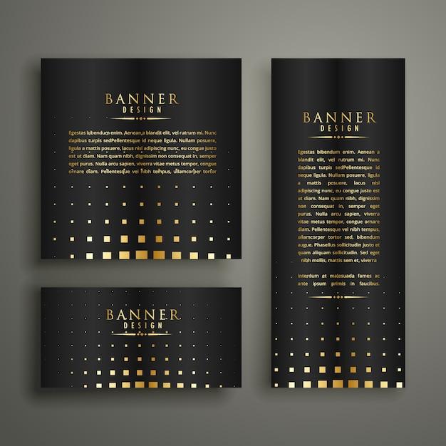 Modern golden halftone style banner design template Free Vector