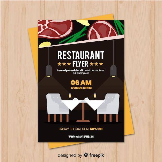 Modern gourmet restaurant flyer template Free Vector