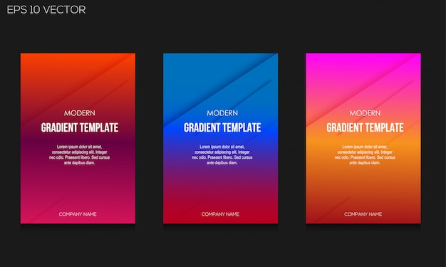 Modern gradient colorful background template set Premium Vector