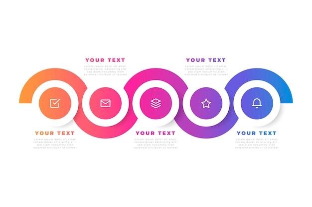 Современная градиентная инфографика с иконками Бесплатные векторы