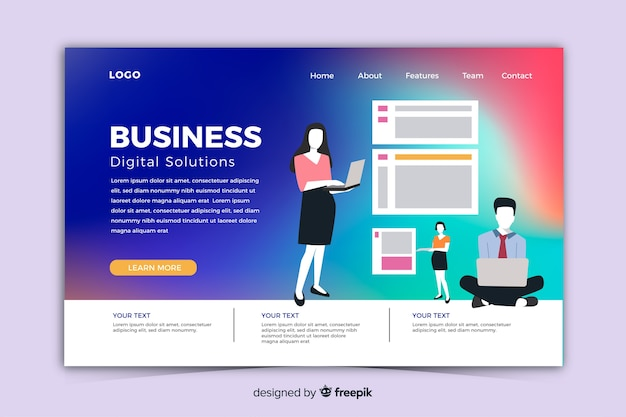 Modern gradient landing page with illustrations template Free Vector