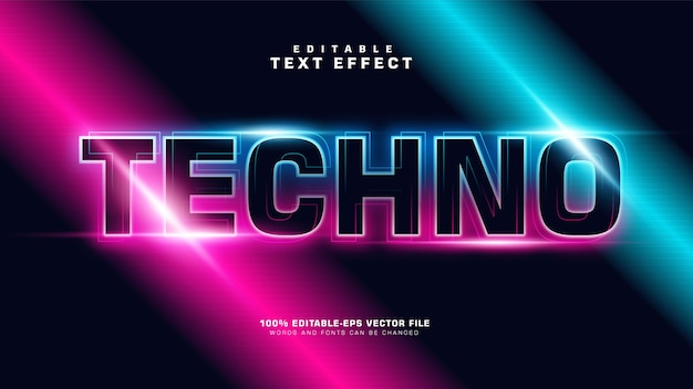 Modern gradient techno text effect Free Vector