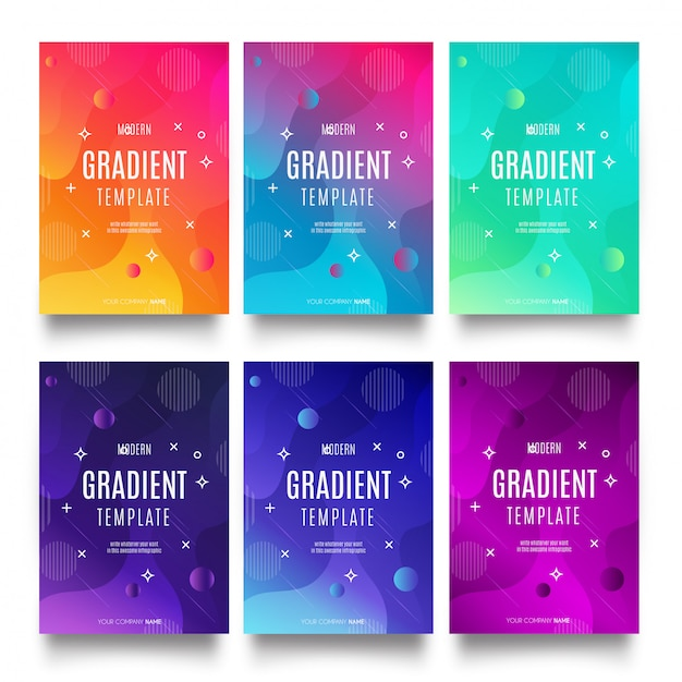 Modern gradient template collection Free Vector