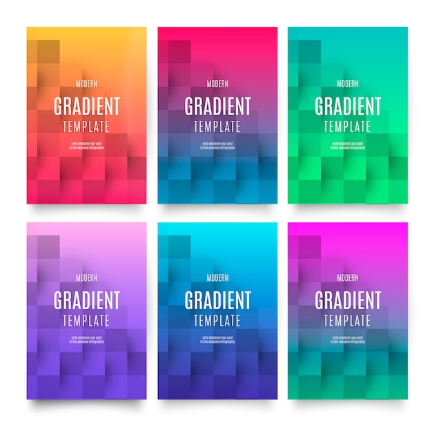 Modern gradient template with geometric background Free Vector