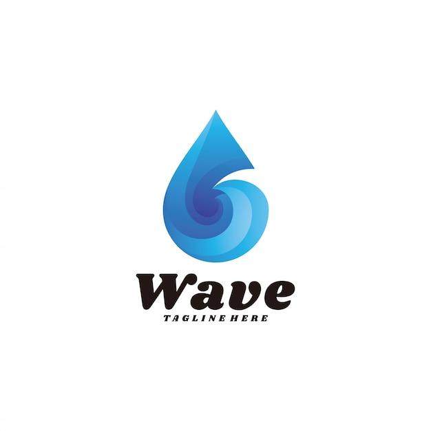 Modern gradient wave water droplet logo Premium Vector