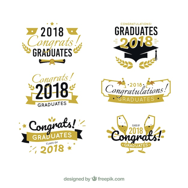 Modern graduation label collection with flat design Free Vector