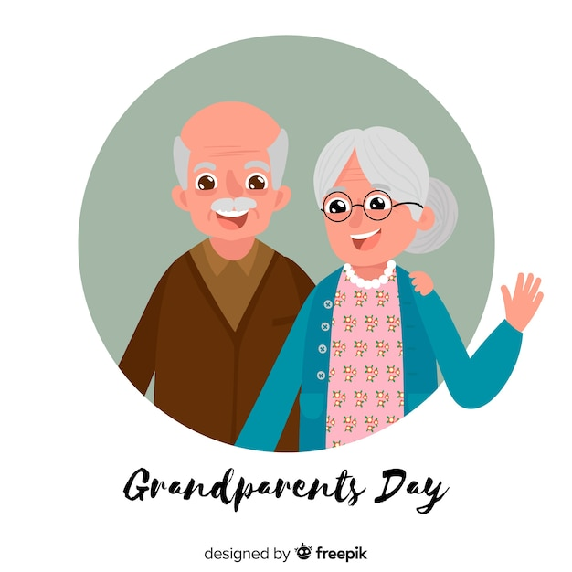 Modern grandparents day background Free Vector